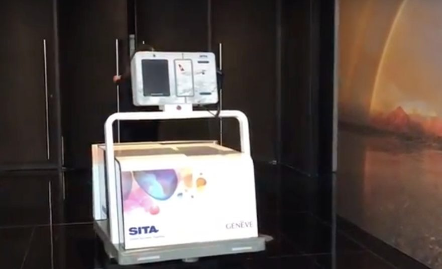 Leo the Baggage Handling Robot, by SITA Lab, seen at SITA Air Transport IT Summit 2016 © FCMedia